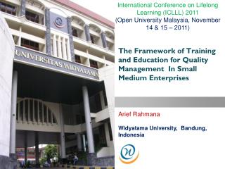 The Framework of Training and Education for Quality Management  In Small Medium Enterprises