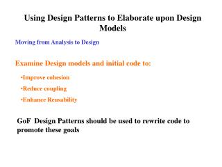Using Design Patterns to Elaborate upon Design Models