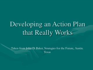 Developing an Action Plan that Really Works