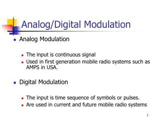 Analog/Digital Modulation