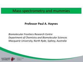 Mass spectrometry and mummies