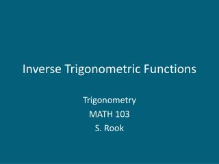 Inverse Trigonometric Functions