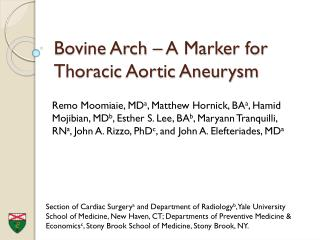 Bovine Arch – A Marker for Thoracic Aortic Aneurysm