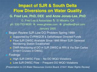 Impact of SJR  South Delta Flow Diversions on Water Quality