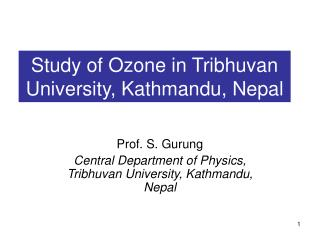 Study of Ozone in Tribhuvan University, Kathmandu, Nepal