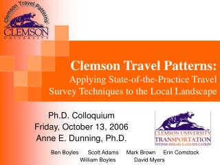 Clemson Travel Patterns:  Applying State-of-the-Practice Travel Survey Techniques to the Local Landscape