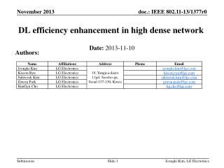 DL efficiency enhancement in high  dense network