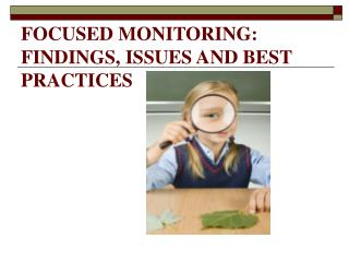 FOCUSED MONITORING:  FINDINGS, ISSUES AND BEST PRACTICES