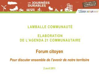 Lamballe communauté Elaboration  de  l'Agenda  21  communautaire
