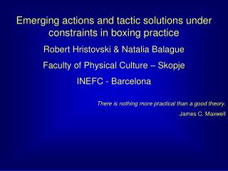 Emerging actions and tactic solutions under constraints in boxing practice