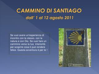 CAMMINO DI SANTIAGO dall ' 1 al 12 agosto 2011