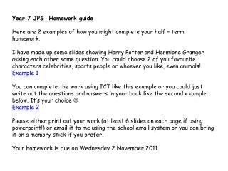 Year 7 JPS  Homework guide