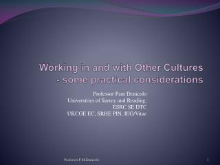 Working in and with Other Cultures - some practical considerations