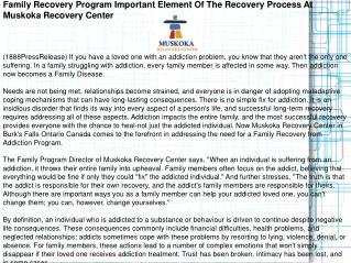Family Recovery Program Important Element Of The Recovery Pr