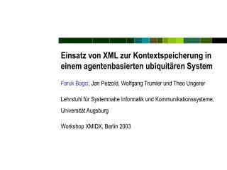 Einsatz von XML zur Kontextspeicherung in einem agentenbasierten ubiquitären System