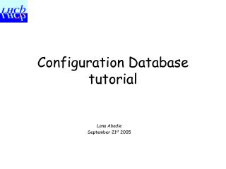 Configuration Database tutorial