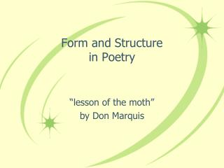 Form and Structure in Poetry