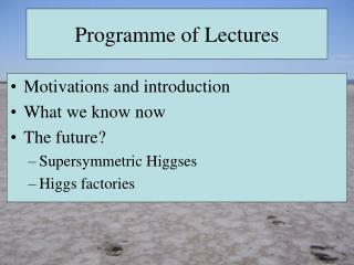 Programme  of Lectures