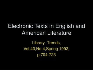 Electronic Texts in English and American Literature