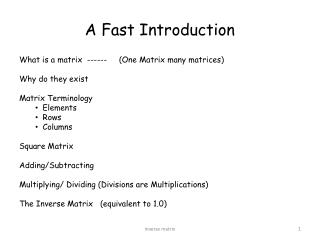 A Fast Introduction