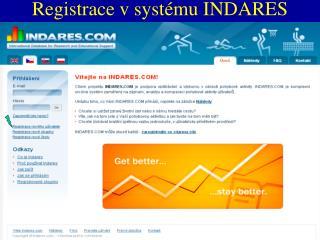 Registrace v systému INDARES