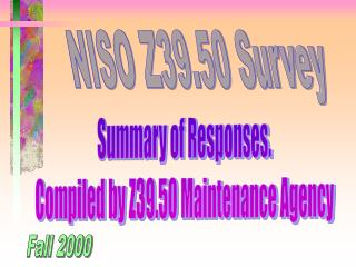 NISO Z39.50 Survey