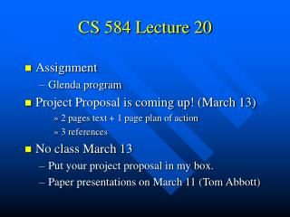 CS 584 Lecture 20
