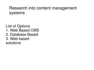 Research into content management systems