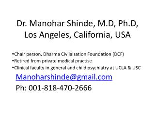 Dr. Manohar Shinde, M.D, Ph.D, Los Angeles, California, USA