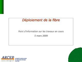 Déploiement de la fibre  Point d'information sur les travaux en cours 5 mars 2009