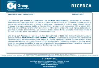 GI GROUP SPA Agenzia di Arezzo – Via XXV Aprile, 4 – 52100,  Arezzo