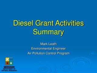 Diesel Grant Activities Summary