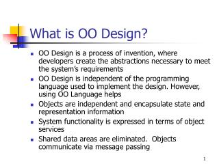 What is OO Design?