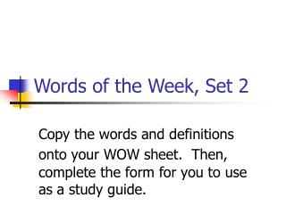 Words of the Week, Set 2
