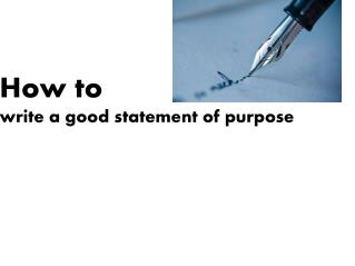 How to write statement of purpose