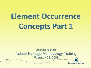 Element Occurrence Concepts Part 1