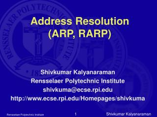 Address Resolution  (ARP, RARP)