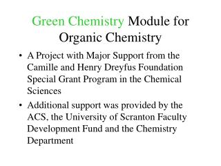Green Chemistry  Module for Organic Chemistry