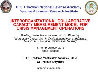 G. S. Rakovski National Defense Academy Defense Advanced Research Institute