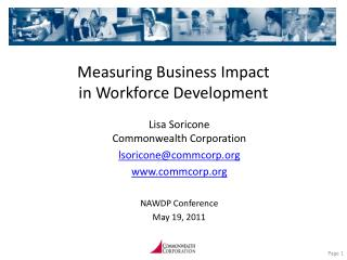 Measuring Business Impact  in Workforce Development