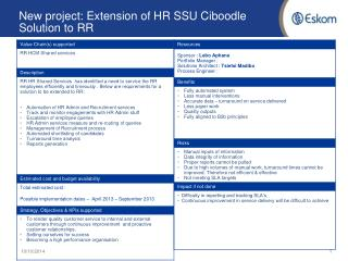 New project: Extension of HR SSU Ciboodle Solution to RR