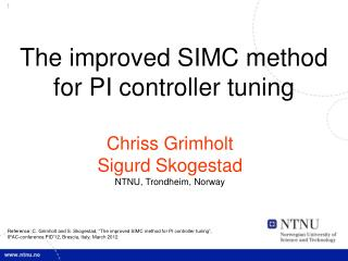 The improved SIMC method for PI controller tuning