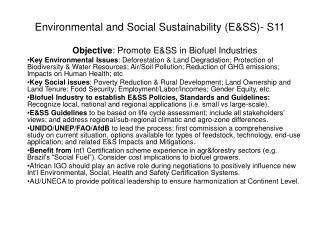 Environmental and Social Sustainability (E&SS)- S11