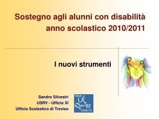 Sostegno agli alunni con disabilit   anno scolastico 2010
