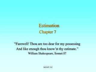Estimation Chapter 7