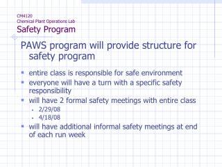 CM4120 Chemical Plant Operations Lab Safety Program