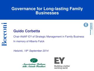 Guido Corbetta  Chair  AIdAF -EY  of  Strategic Management  in  Family Business