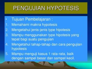 PENGUJIAN HYPOTESIS