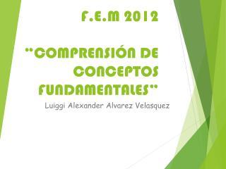 "F.E.M 2012 ""COMPRENSIÓN DE CONCEPTOS FUNDAMENTALES"""