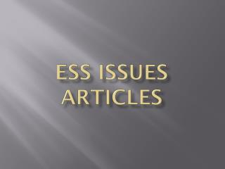 ESS Issues Articles